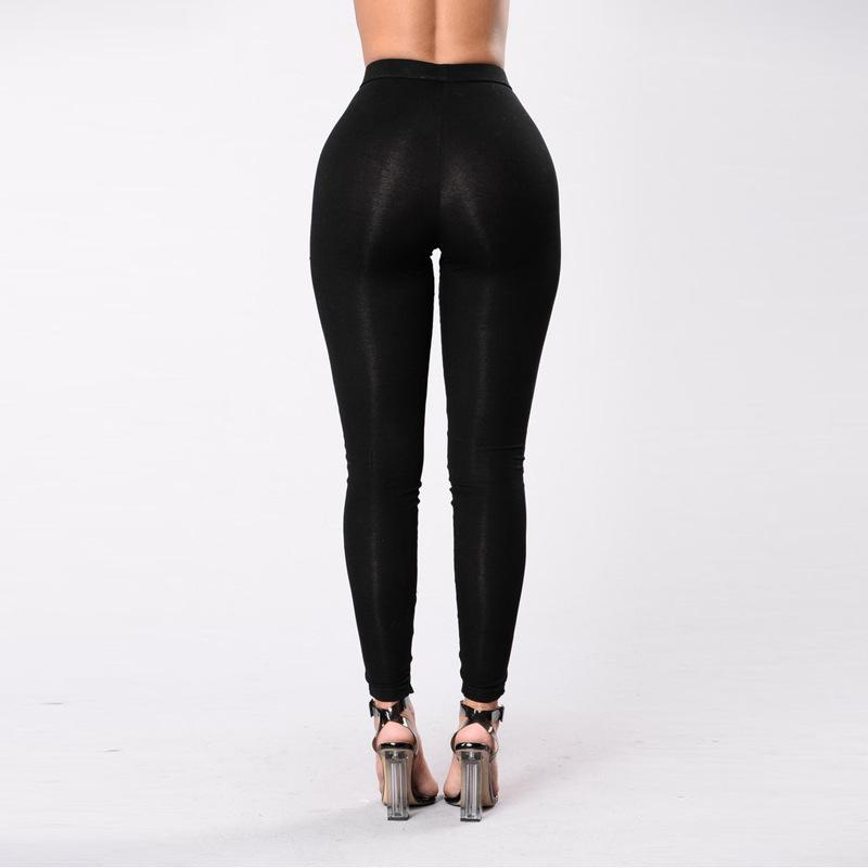 Sports Pure Color Hollow Out Straps Bandage Slim Long Leggings Pants
