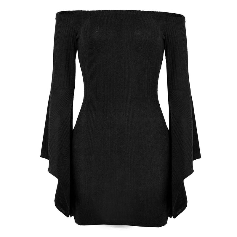 Sexy Off Shoulder Bell Sleeve Bodycon Short Dress