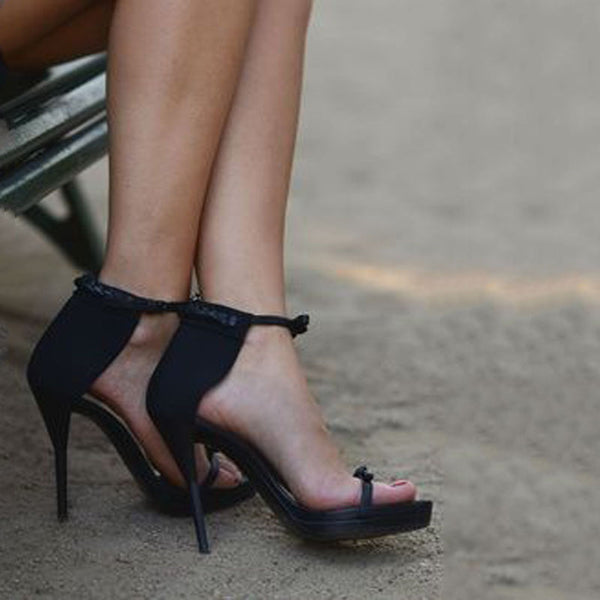 Summer Black Leather Buckle High Heel Sandals