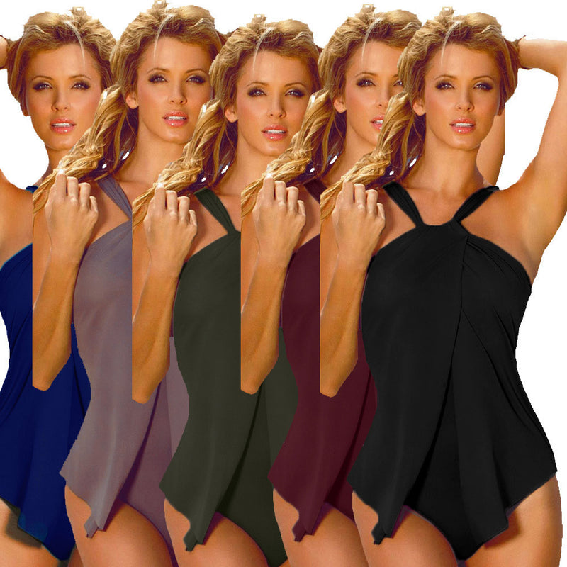 Padded Front Slit Halter Neck One Piece Swimwear