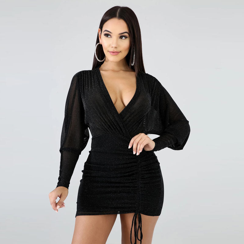 V Neck Long Sleeve Frills Wrap Dress