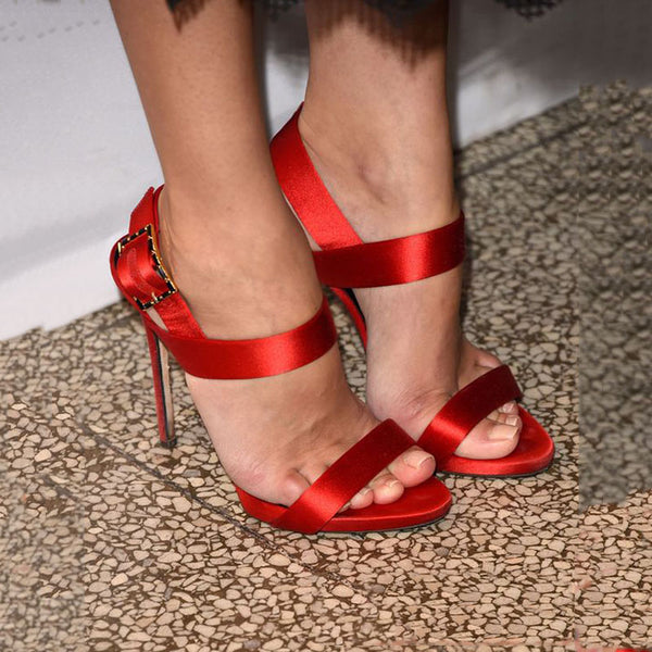 Red Buckle Open Toe High Heel Sandals