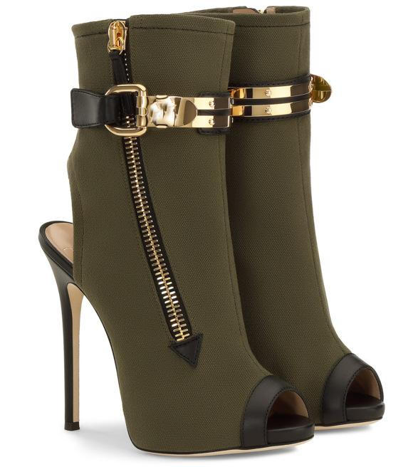 Army Green Peep-Toe Buckled Stiletto Heel Ankle Boots