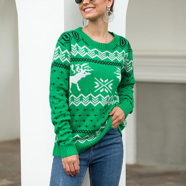 Christmas Snowflakes Reindeer Knit Sweater