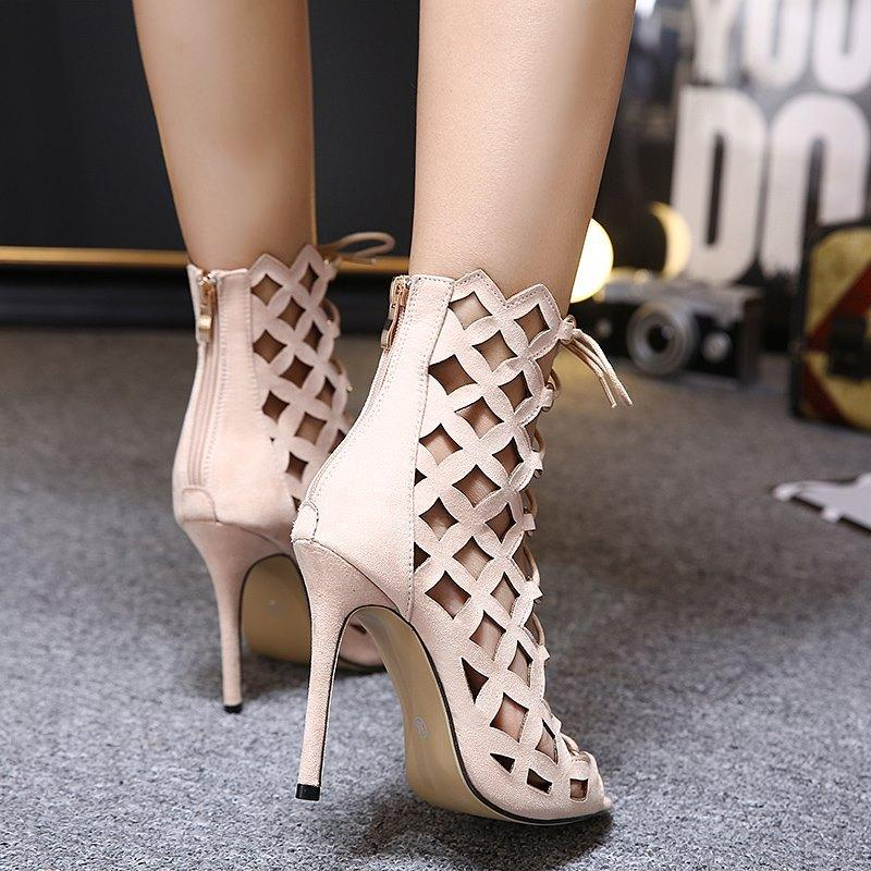 Cut Out Suede Peep Toe Ankle Short Boot High Heels Sandals
