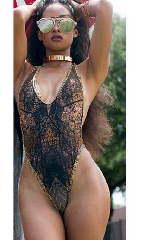 Fashion Snake Gradient Print Halter Backless One Piece Swimwear