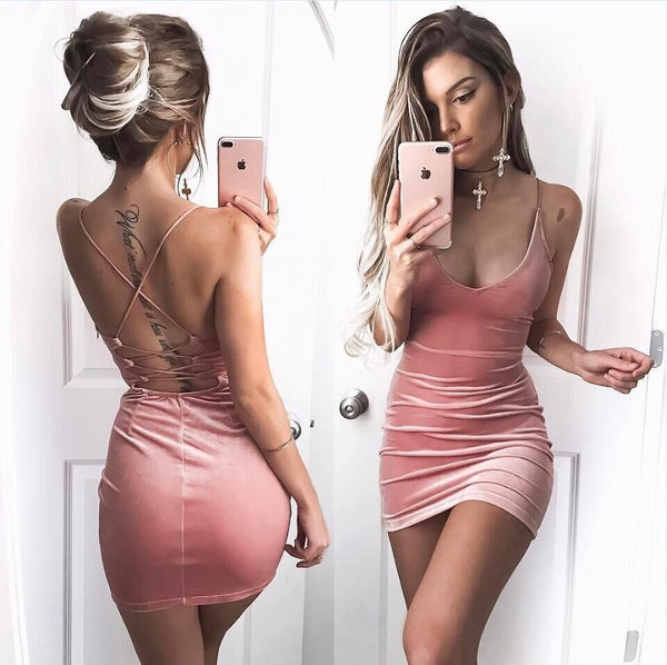 Spaghetti Strap Lace Up Back Short Bodycon Dress