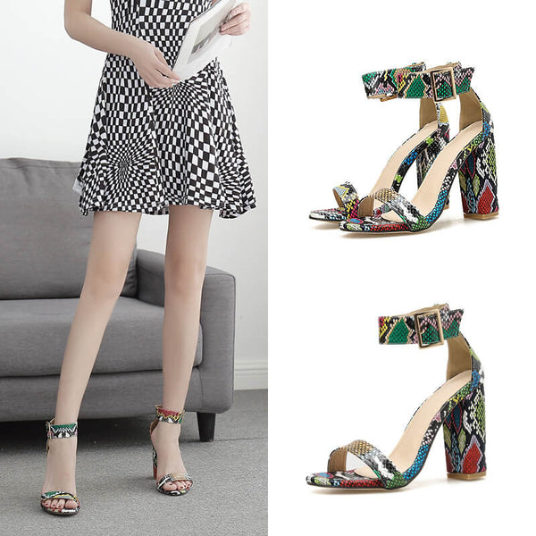 Summer Snakeskin Leather Buckle High Chunky Heel Sandals