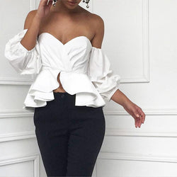 Off Shoulder Short Puff Sleeves Irregular Crop Top