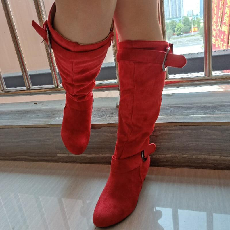 Pointed Toe Buckled Mid Calf Heel Boots