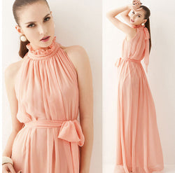 Bare Shoulder Candy Color High Neck Long Pleated Party Beach Dress
