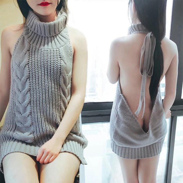 Sexy Fashion Backless Turtleneck Sleeveless Long Sweater