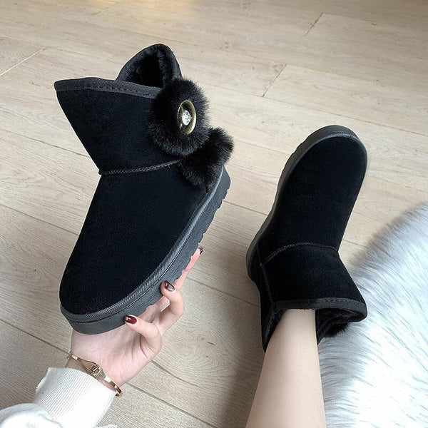 Fur Snow Flat Ankle Round Toe Boots