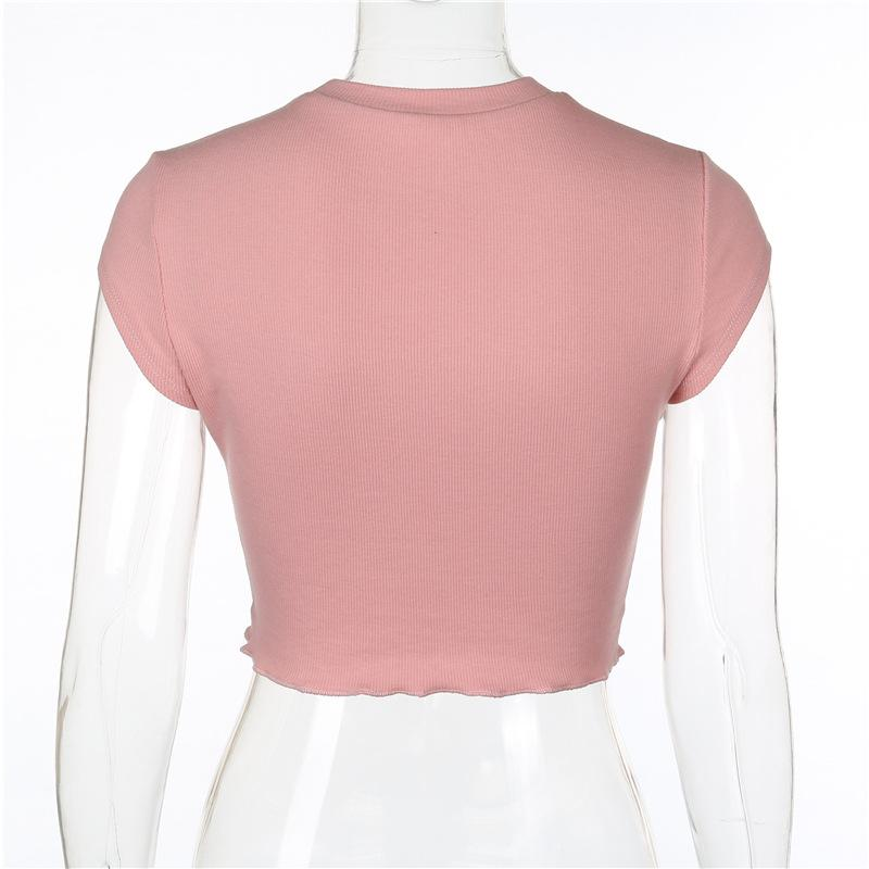 Scoop Neck Short Sleeve Strapless Crop Top