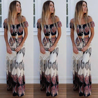 Retro Print Off Shoulder Short Sleeves Crop Top with Long Skirt Two Pieces Dress Set