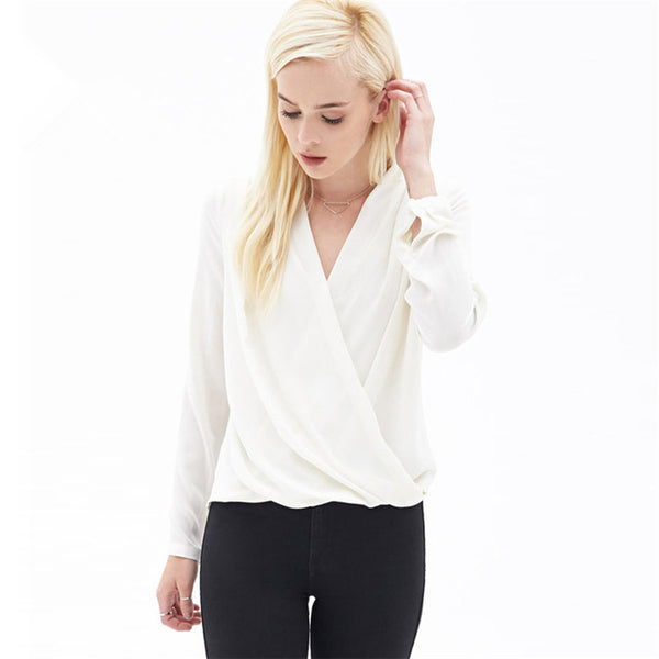Fashion Simple V-neck Pure Color Long Sleeve Blouses
