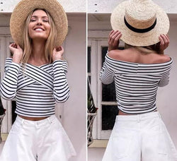 Off Shoulder Cross Stripe Long Sleeve T-shirt