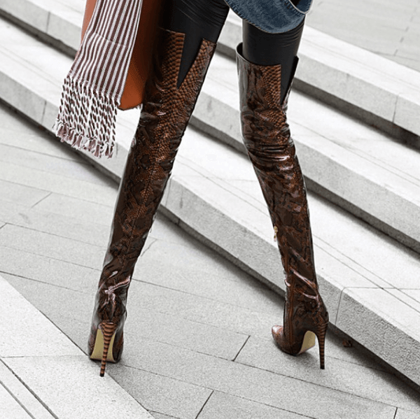 Snakeskin Point Toe High Heel PU Over Knee Boots