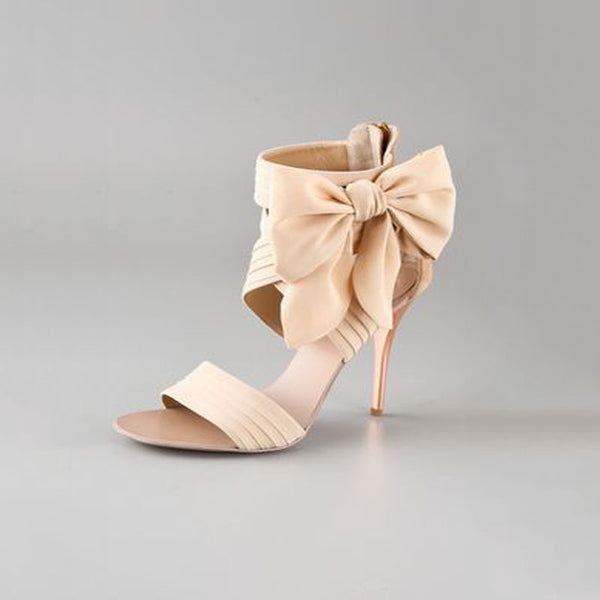Casual Suede Nude Bow High Heel Sandals