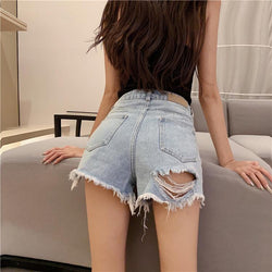 High Waist Pure Color Denim Pockets Tassel Shorts