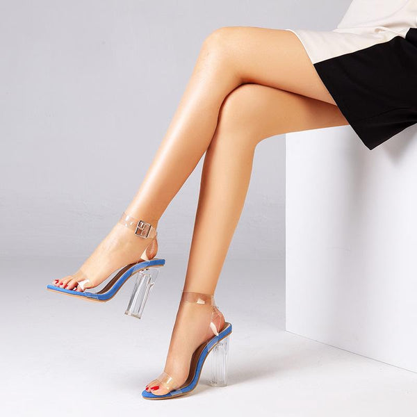 One button transparent high heel Sandals