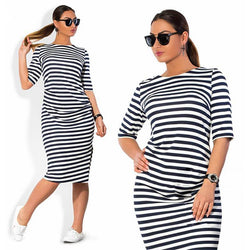 Plus Size Stripe O-neck Short Sleeve Short Dress