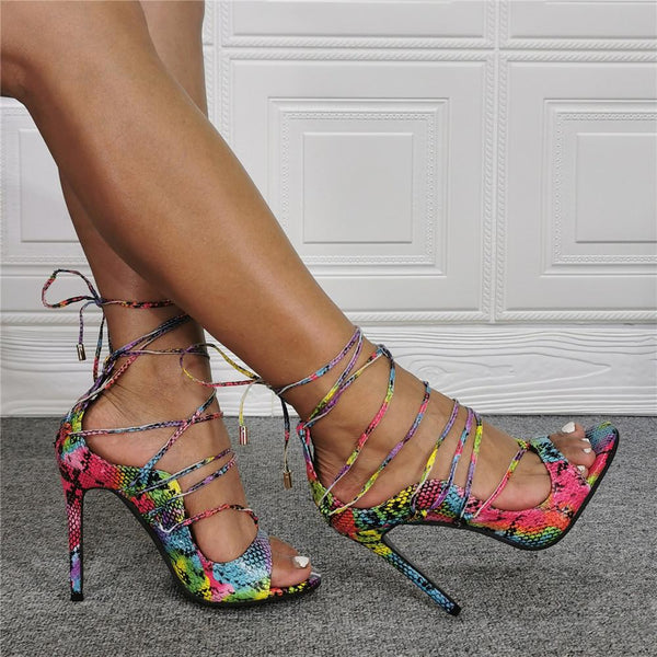 Snake lace up ultra-fine High Heel Sandals
