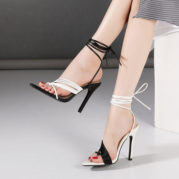 Color matching thin band pointed high heel strapping sandals