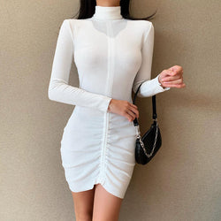 Sexy High Neck Long sleeve drawstring Pleated Bodycon Dress