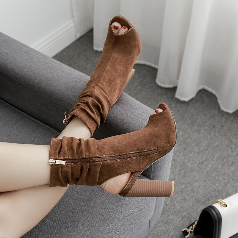 Peep Toe Cut Out Side Zipper High Chunky Heel Ankle Boot Sandals
