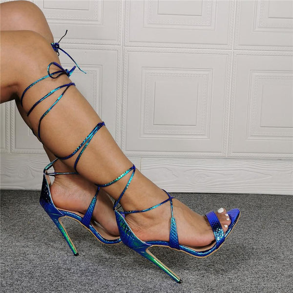 Strapped high heel Roman snake sandals
