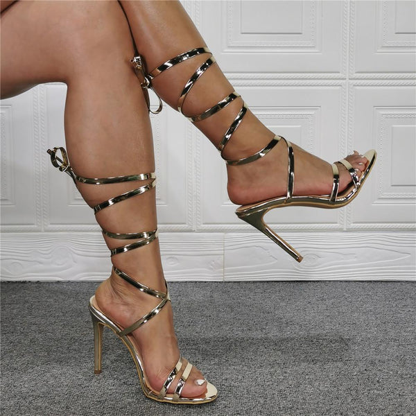 Gold ribbon fashion sandals