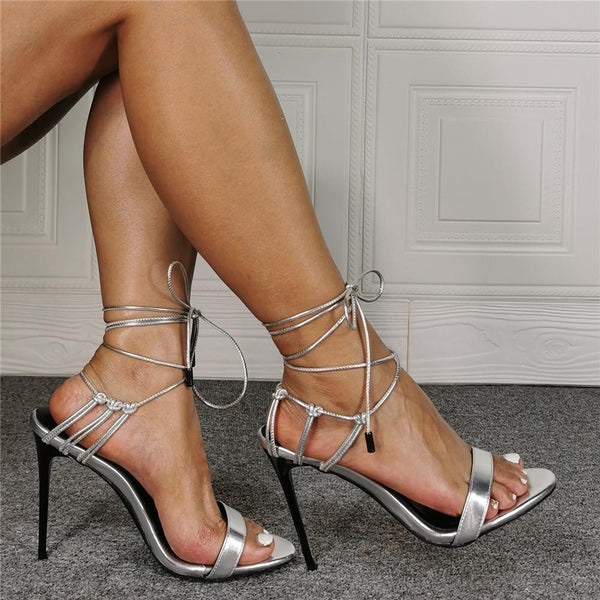 Silver lace up ultra fine high heel fashion sandals