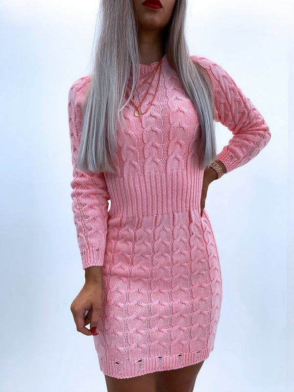Long Sleeve Crew Neck Sweater Bodycon Dress
