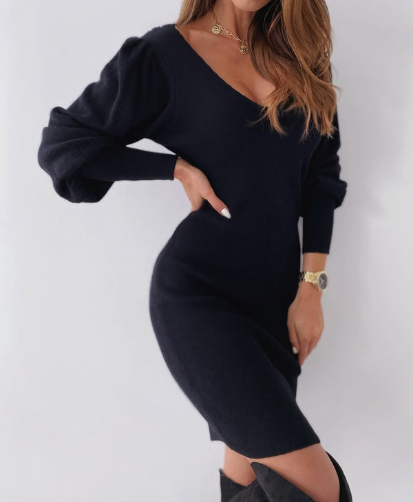 Lace Blackless Long Sleeve Sweater Bodycon Dress