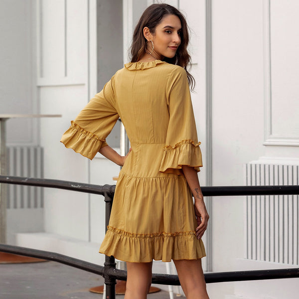 Deep V Neck Bubble 3/4 Sleeve Yellow Dress