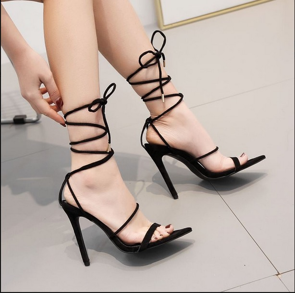 Straps Ankle Lace Ups Pointed Toe Stiletto High Heels Party Shoes