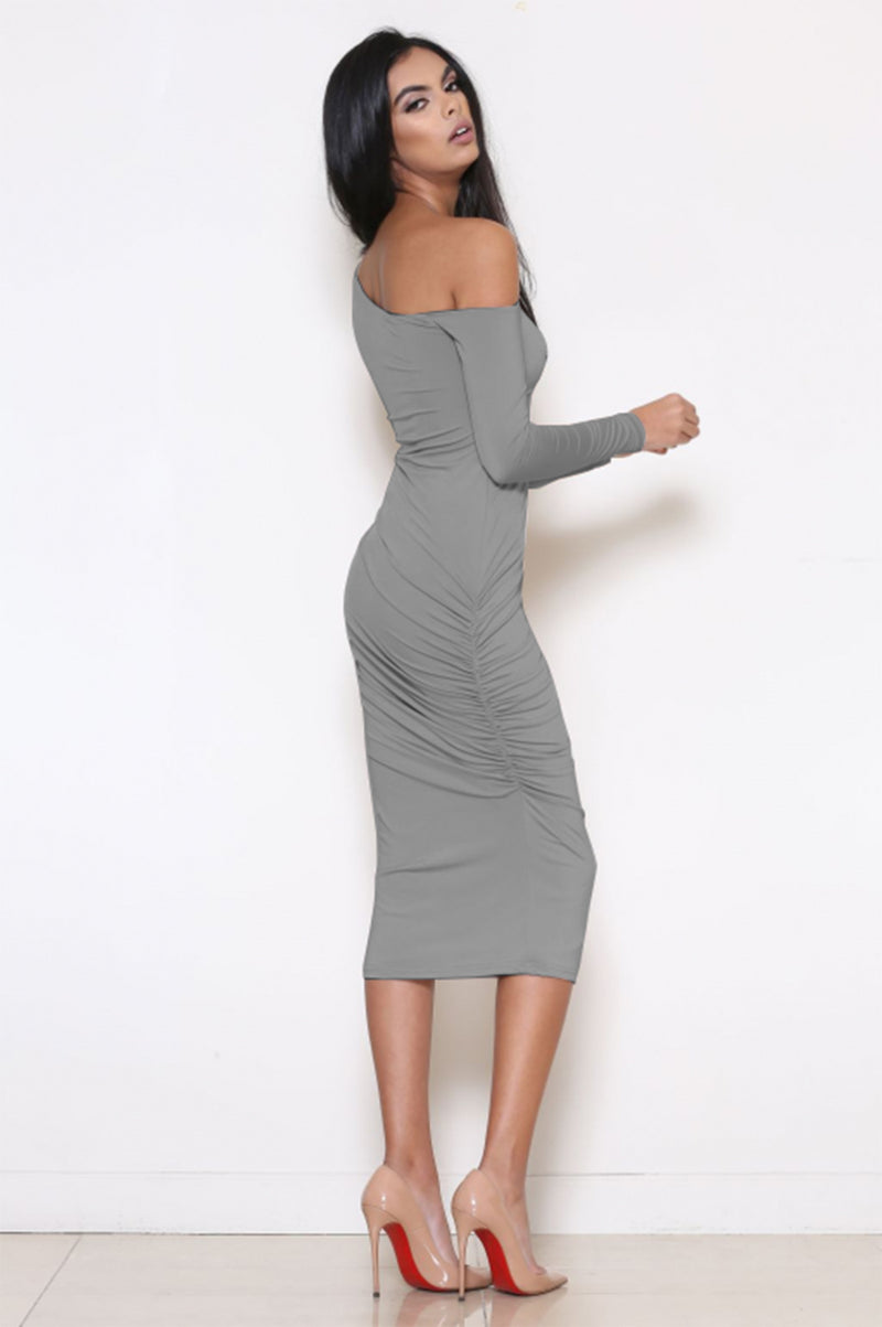 Long Sleeve Oblique Neck Knee-length Pure Color Party Bodycon Dress