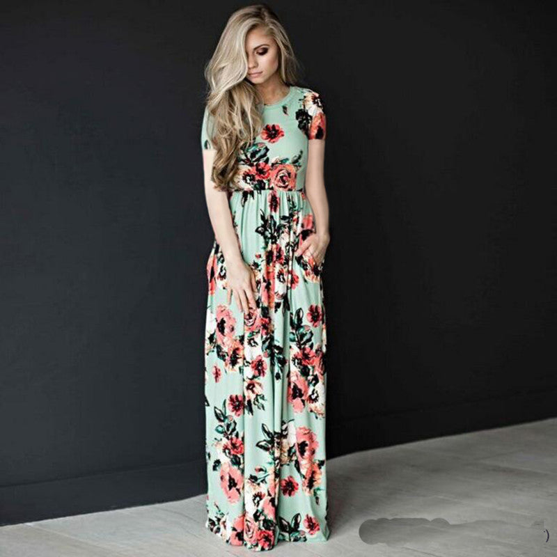 Flower Print 3/4 Sleeves and Short Sleeves High Waist Long Party Dress