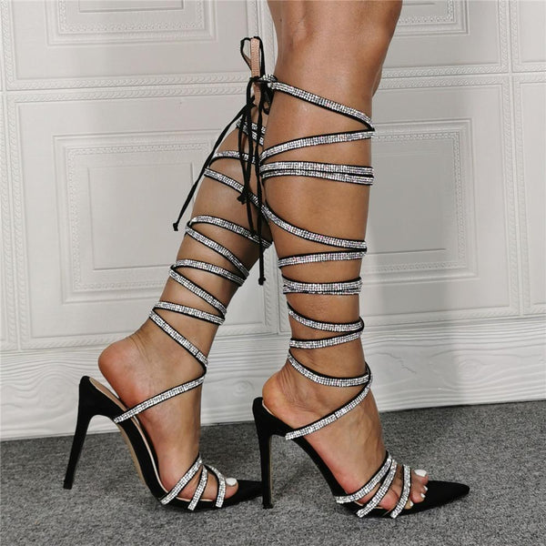 Diamond lace up super high heel sandals