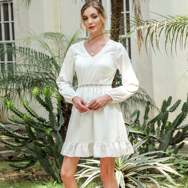 V-neck stitched lantern Long Sleeve Dress