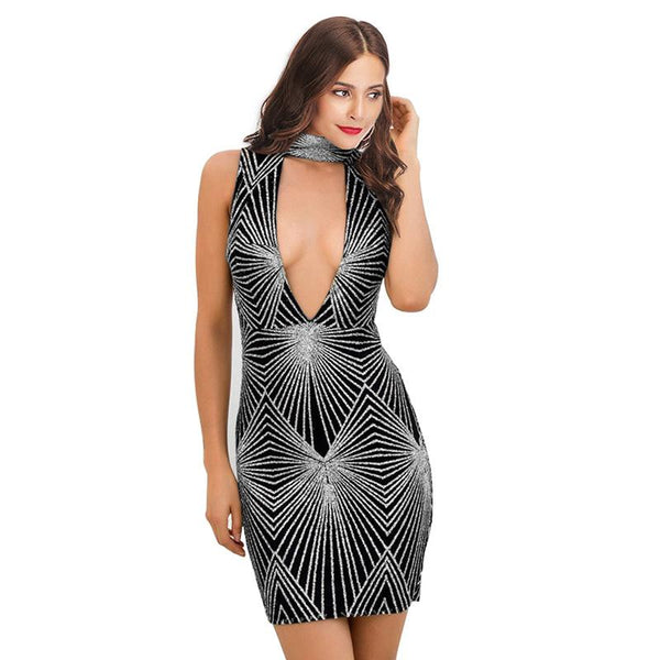 V-neck Stripe Geometric Sequin Dress