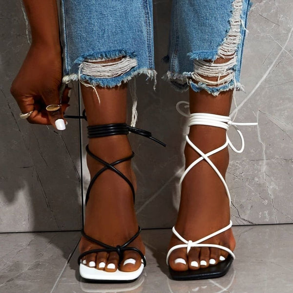 Clip toe strap thin high heel color matching sandals