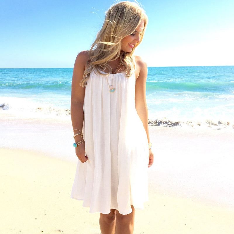 Pure Color Straps Chiffon Long Beach Party Dress