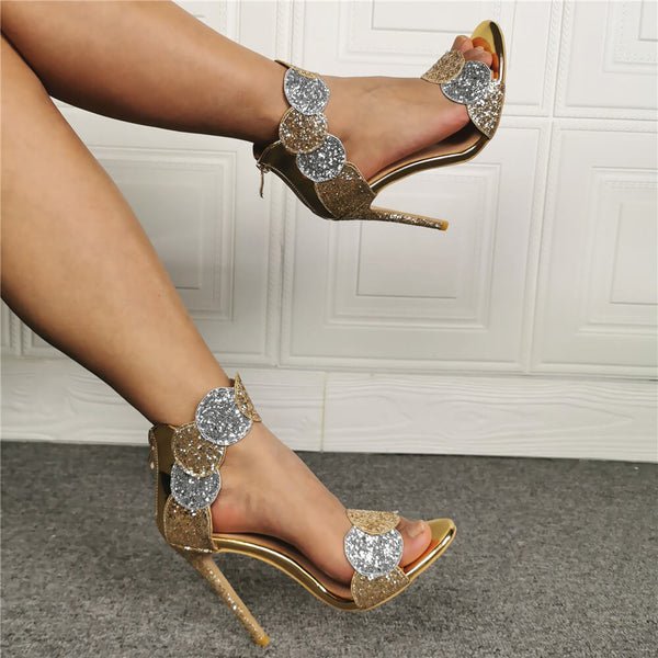 Summer Champagne Sequin Leather High Heel Sandals