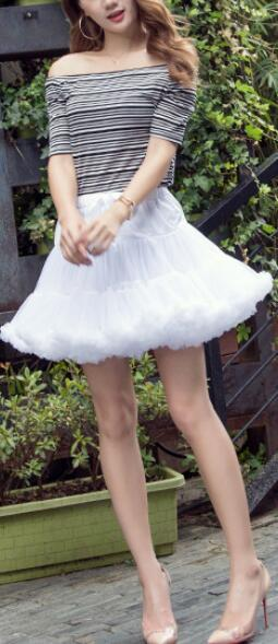 Lovely Patchwork Multi-Layers Short Fluffy Skirt