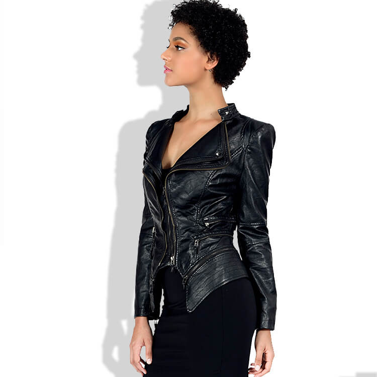 Black Leather Lapel Moto Jacket