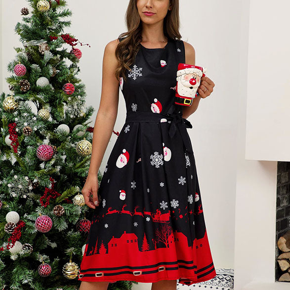 Christmas Sleeveless Print A Line Dress