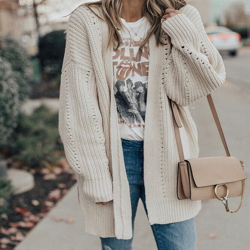 White Loose Hollow Knit Sweater Cardigan