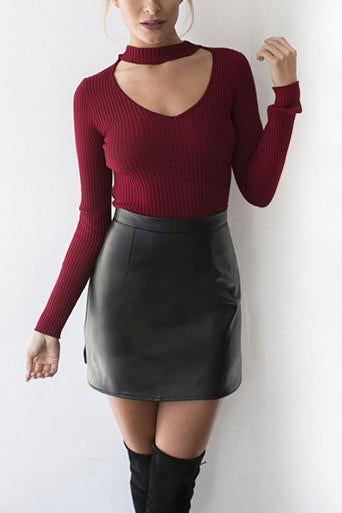 Big Lapel Collar Off Shoulder Long Sleeves Slim Sweater